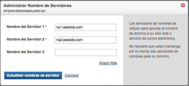 DNS records hosting ecuador